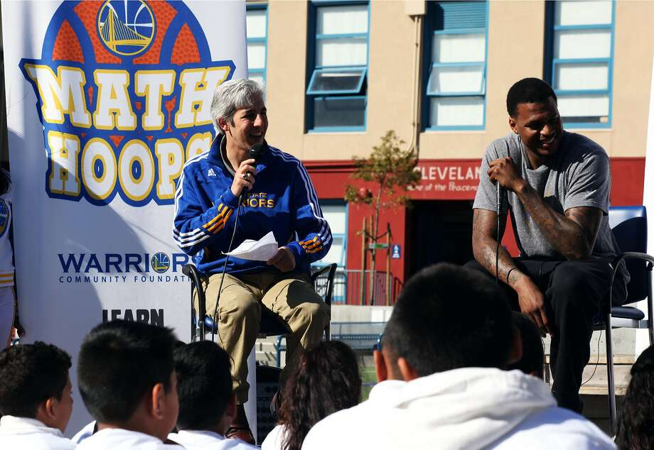Warriors announcer Matthew Hurwitz and Warriors guard Brandon Rush talk to kids about the importance of math in everyday life at the Math Hoops Live event at Cleveland Elementary School in San Francisco, Calif., Friday April 10, 2015. Photo: Sophia Germer, The Chronicle