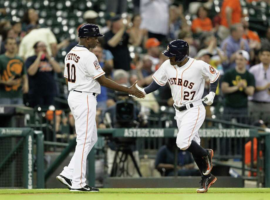 Jose Altuve was one of the few bright spots for the Astros in Monday's game against Oakland, crushing a solo home run in the 8-1 defeat at Minute Maid Park. Photo: Bob Levey, Stringer / 2015 Getty Images