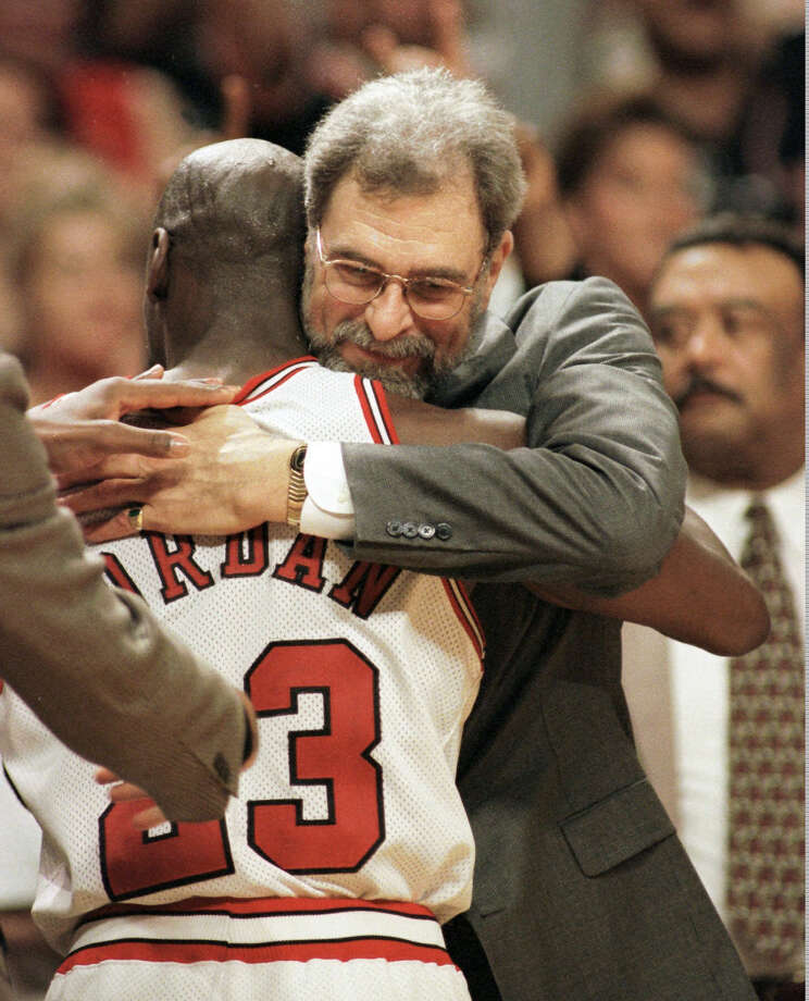 Michael Jordan, coach Phil Jackson helped the Bulls go 72-10 and win the NBA crown in the 1995-96 season. Photo: BETH A. KEISER