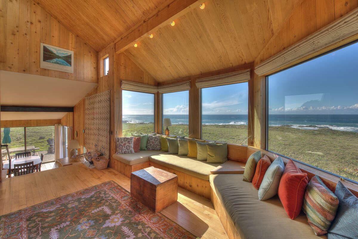 Built-in window seats in the living room
