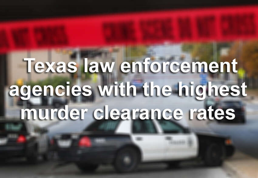 Which Texas law enforcement agencies had the highest clearance rates for murders in 2011-13? Here are the top 10. Note: These agencies recorded more than 10 murders from 2011-13.