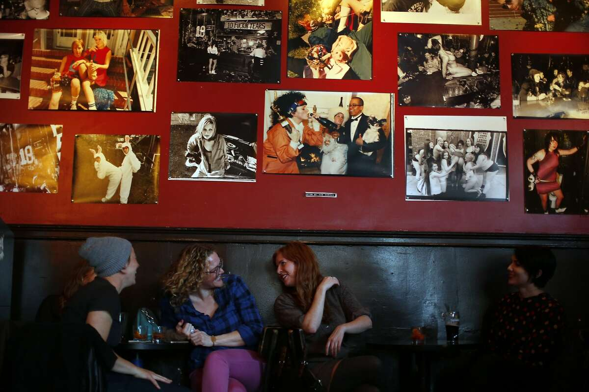(left to right) Erin Robinson. Xam Roberti, Dana Baker and Lindsay Dodge socialize at The Lexington Club in San Francisco, Calif., on Thursday, April 9, 2015.
