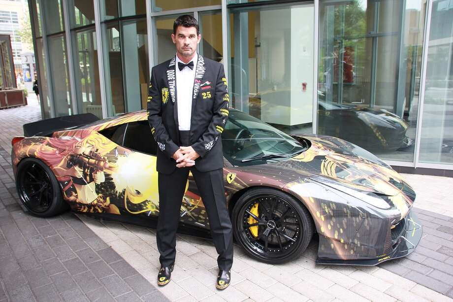 Houstonian Michael Morrow shows off his designer tuxedo and custom Ferrari 458, April  11, 2015, in preparation for the Gumball 3000 international road rally May 23-29, 2015. Photo: Courtesy Of Michael Morrow
