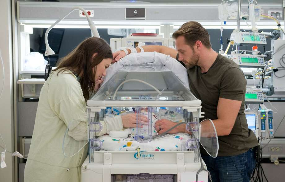 Danielle and Adam Busby with one of their five daughters born April 8, 2015, at The Woman's Hospital of Texas. They were the first all-girl quintuplets born in the world since 1969.PHOTOS: See more of Houston's amazing multiple births ...(Photo: Woman's Hospital of Texas)