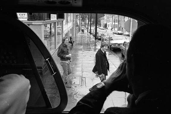 "April 26, 1967: A Gray Line bus takes a ""Hippie Tour"" through the Haight-Ashbury District in San Francisco."