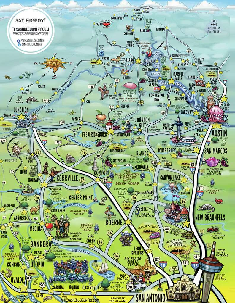This cool map of the Hill Country captures the essence of Central – Texas Travel Map