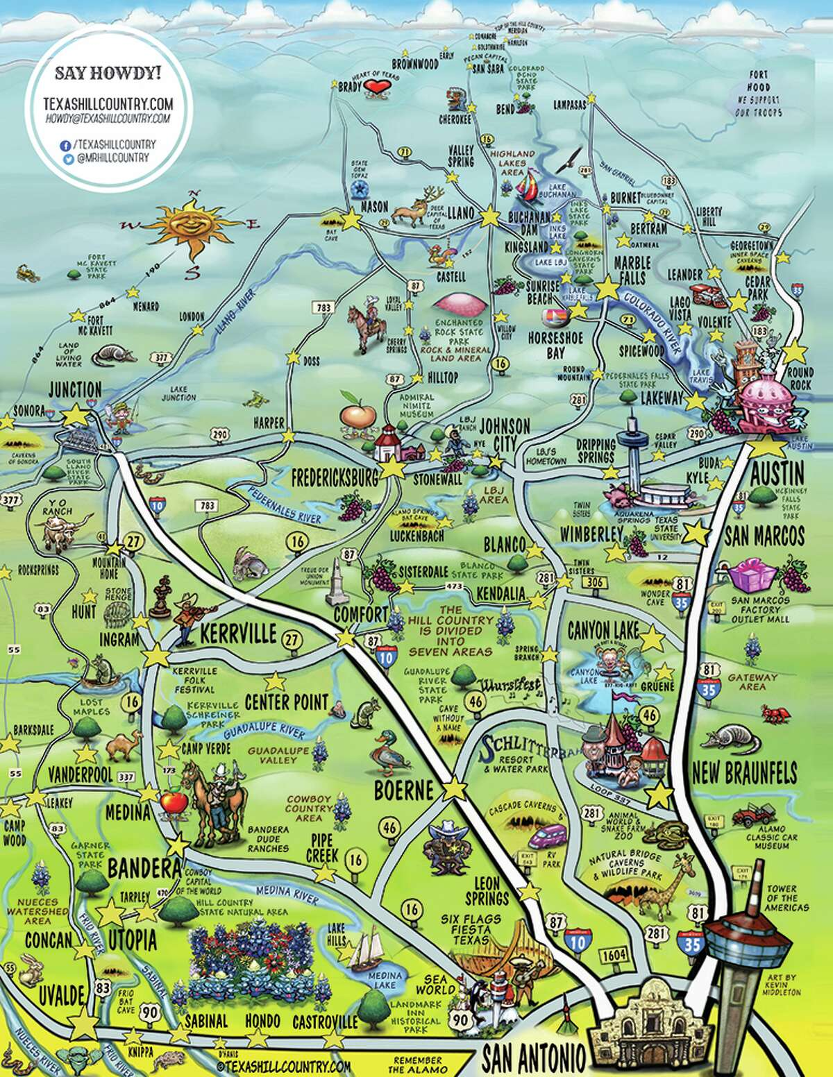 This cartoon-style map from TexasHillCountry.com captures all the beauty and character of this popular Texas travel destination. Helotes was added to the map in August 2015.