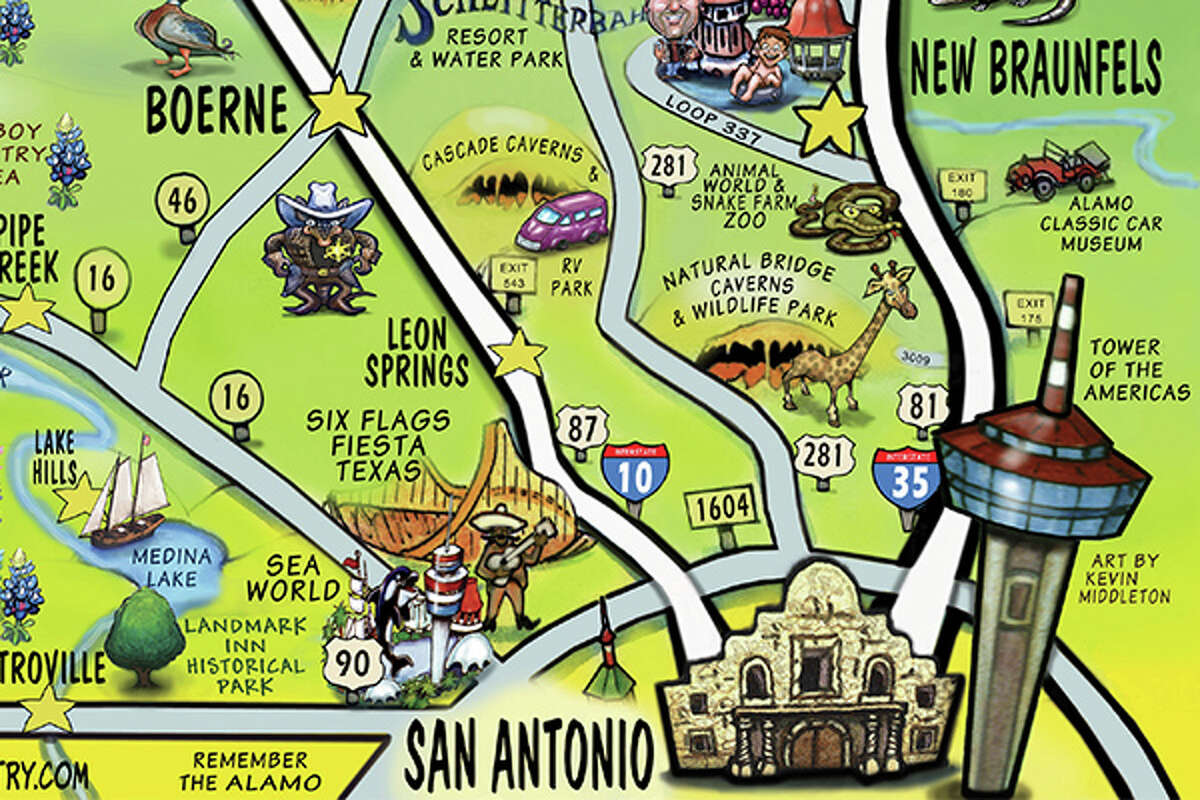 San Antonio officially anchors the Hill County and provides a good starting point for any travel in the area. Helotes was added to the map in August 2015.