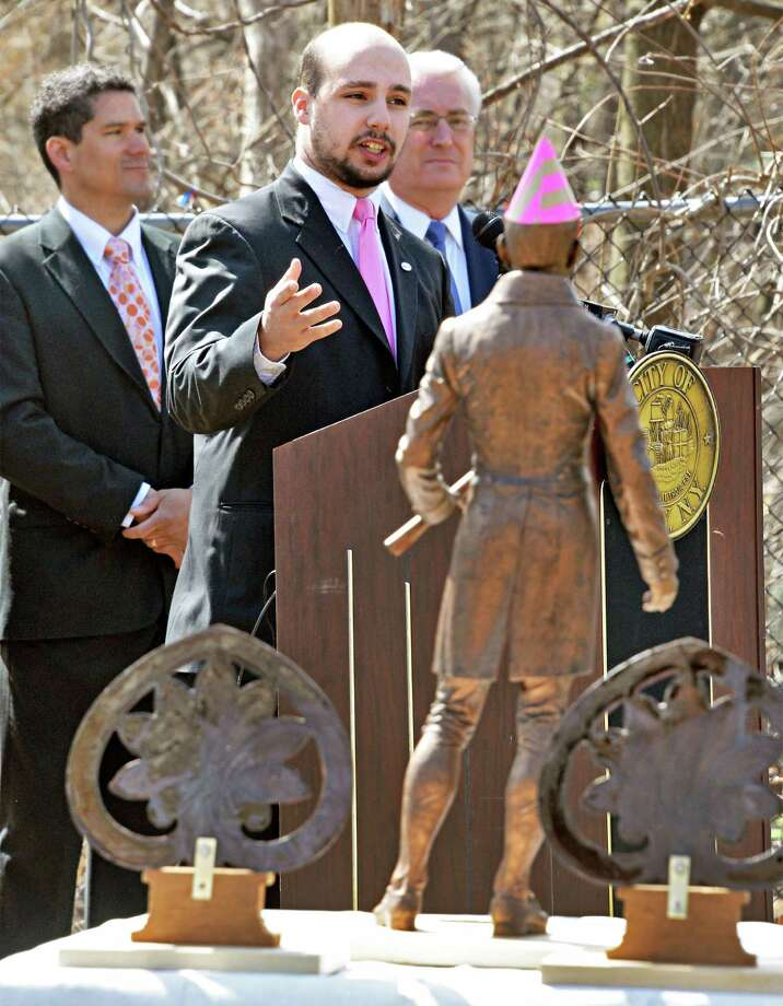 "Co-committee chairman Adam Sanzone, center speaks during the dedication of Troy's newest park, the Col. Albert Pawling Memorial Park or ""Pawling Park""  at the corners of Congress Street and Pawling Avenue on Tuesday April 14, 2015 in Troy, NY.  (John Carl D'Annibale / Times Union) Photo: John Carl D'Annibale / 00031424A"