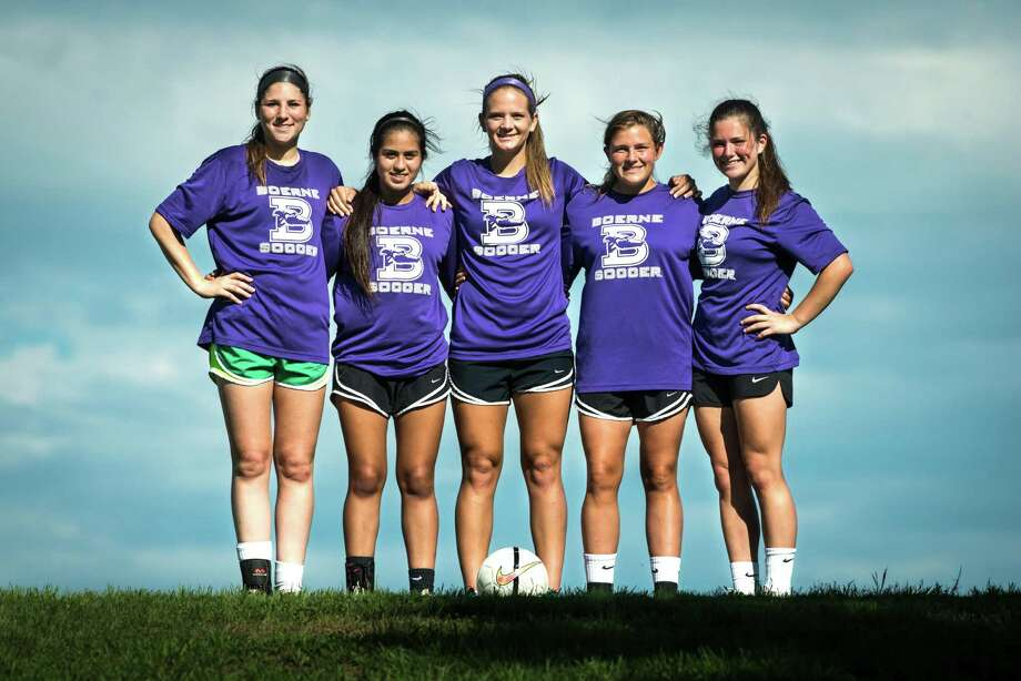 The top goal scorers for the Boerne High School girls soccer team this year are (from left) junior Emily Blaettner, sophomore Marissa Fernandez, senior Skylar Vanover, sophomore Paige Marcell, and freshman Cassidy Miller pose for a portrait on April 13, 2015 in Boerne. Boerne is going to the UIL Class 4A state tournament for the first time in school history. The Greyhounds' offense has produced 142 goals this season. Photo: Matthew Busch /For The Express-News / © Matthew Busch