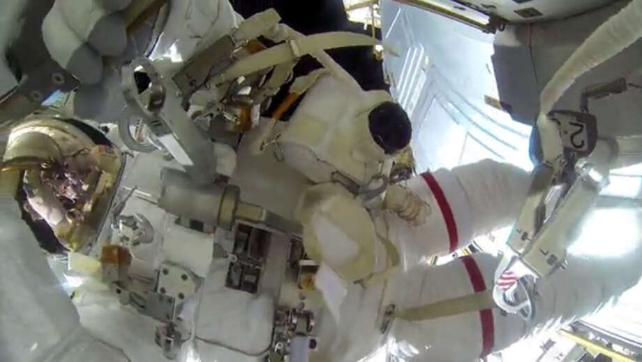 Astronauts Terry Virts and Barry Wilmore recorded two spacewalks in February and April as they modified the International Space Station to accept new American-made spacecraft in 2017. Source: NASA Photo: NASA