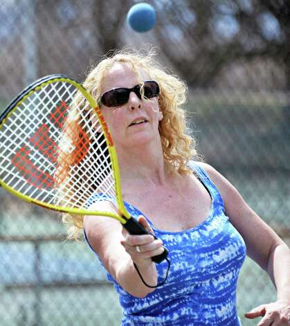 Meg Beardsley of Troy practices her racquetball game at Prospect Park Tuesday April 14, 2015 in Troy, NY.  (John Carl D'Annibale / Times Union) Photo: John Carl D'Annibale