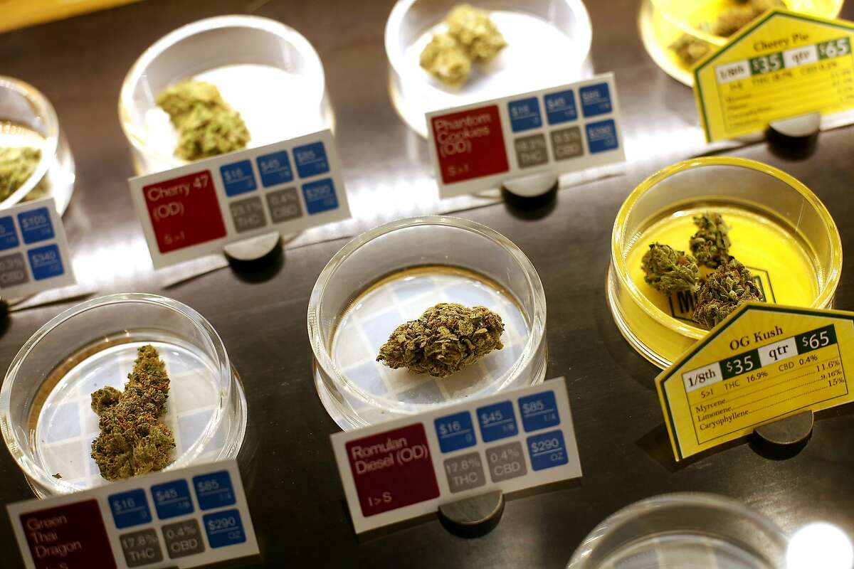 Samples of some of the marijuana available for sale at SPARC, a cannabis dispensary in San Francisco, Calif., on Tuesday, April 14, 2015. The club will be one of the suppliers to on-demand marijuana delivery startups.