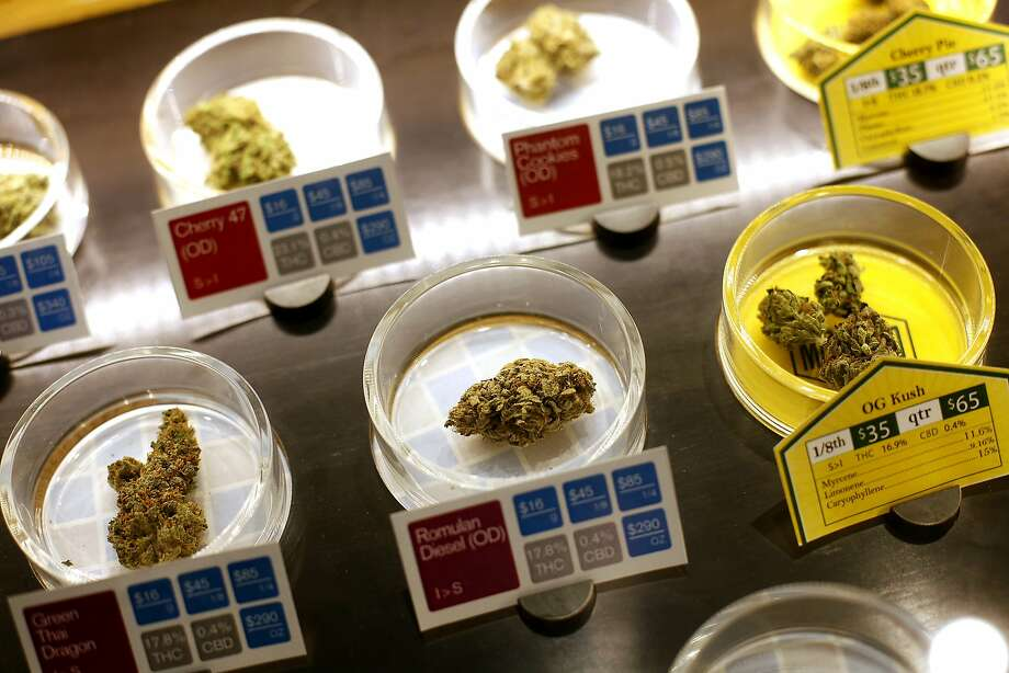 Samples of some of the marijuana available for sale at SPARC, a cannabis dispensary in San Francisco, Calif., on Tuesday, April 14, 2015.  The club will be one of the suppliers to on-demand marijuana delivery startups. Photo: Sarah Rice, Special To The Chronicle