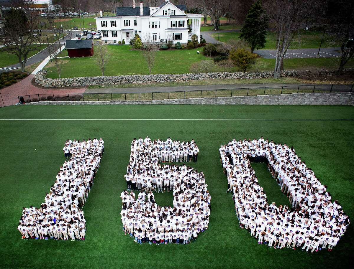 King school students and staff in Stamford gathered for an aerial photo Tuesday, where everyone spelled out 150. The school is getting ready to celebrate its 150th anniversary. Ariel Photography by Dave Curtis/contributed by the King Low-Heywood Thomas School