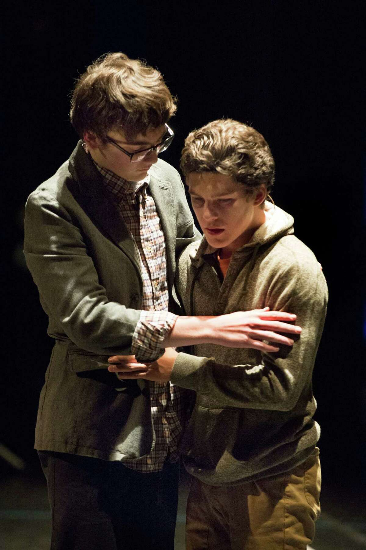 """Ty Doran as Zach and Harrison Poe as Paul in a scene from """"A Chorus Line."""" Poe won best supporting actor honors."""