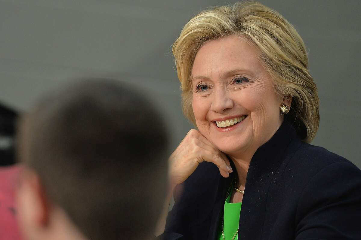 Hillary Rodham Clinton participates in a roundtable discussion with students and educators during a campaign event at Kirkwood Community College April 13, 2015 in Monticello, Iowa. Hillary Clinton announced her candidacy for the United States presidency on April 12, 2015 and is expected to be the frontrunner for the Democratic Party nomination. AFP PHOTO / MICHAEL B. THOMASMichael B. Thomas/AFP/Getty Images