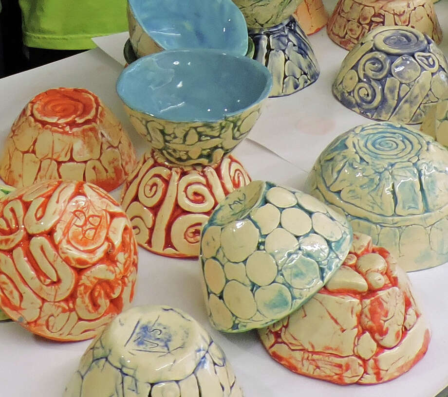 Sixth-graders at the Central Middle School have crafted bowls to benefit Neighbor to Neighbor. Photo: Contributed Photo / Greenwich Time Contributed