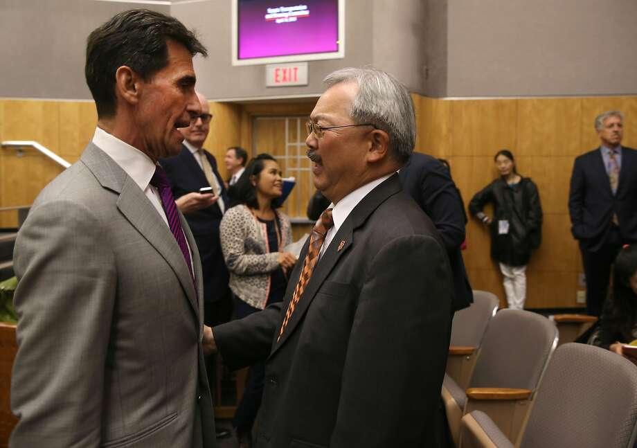State Sen. Mark Leno confers with Mayor Ed Lee at a Senate Committee hearing to consider a bill to reform the Ellis Act within the city of San Francisco, at the State Capitol in Sacramento, Calif. on Tuesday, April 14, 2015. Leno authored SB 364. Photo: Paul Chinn, The Chronicle