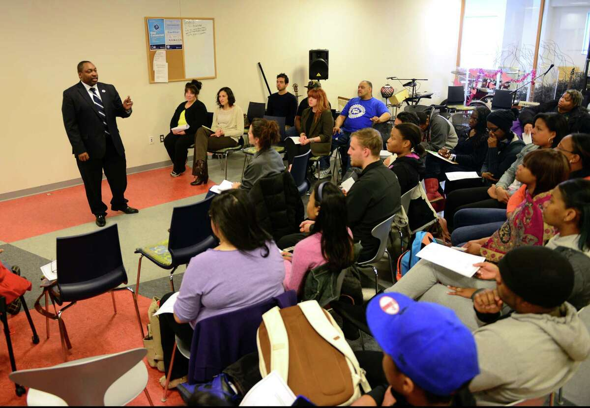 Dr. Paul Broadie, the new president of Housatonic Community College, speaks to students during a meet-and-greet event at the college in Bridgeport, Conn. on Tuesday Apr. 14, 2015.