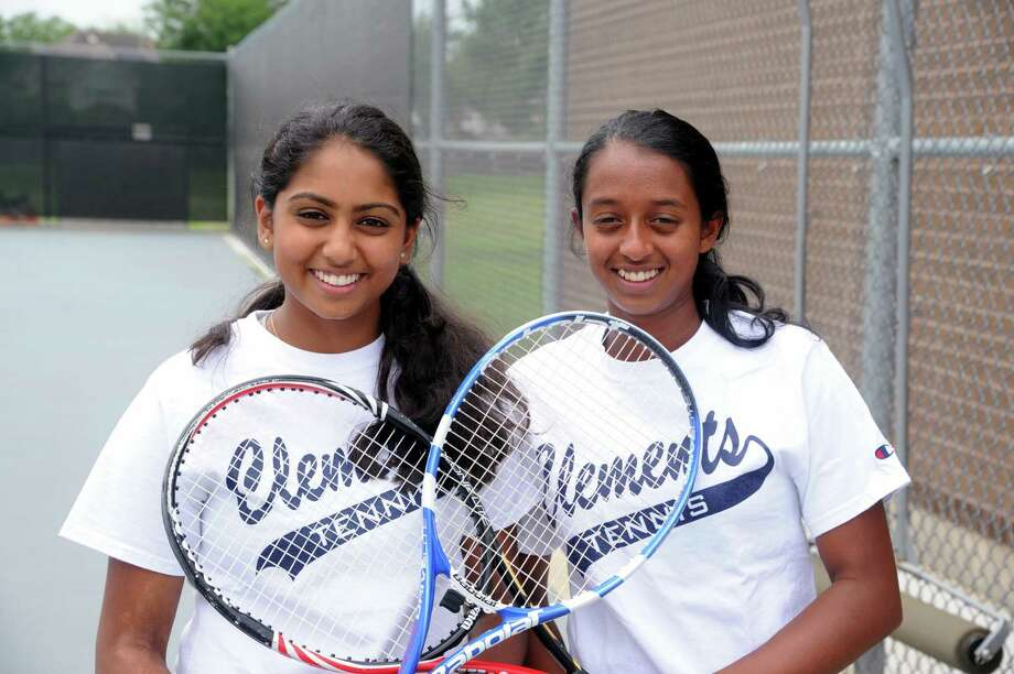Sanjna Tripathy, left, and doubles partner Nikita Pradeep are district champions and will represent Clements at regionals. Photo: Eddy Matchette, Freelance / Freelance