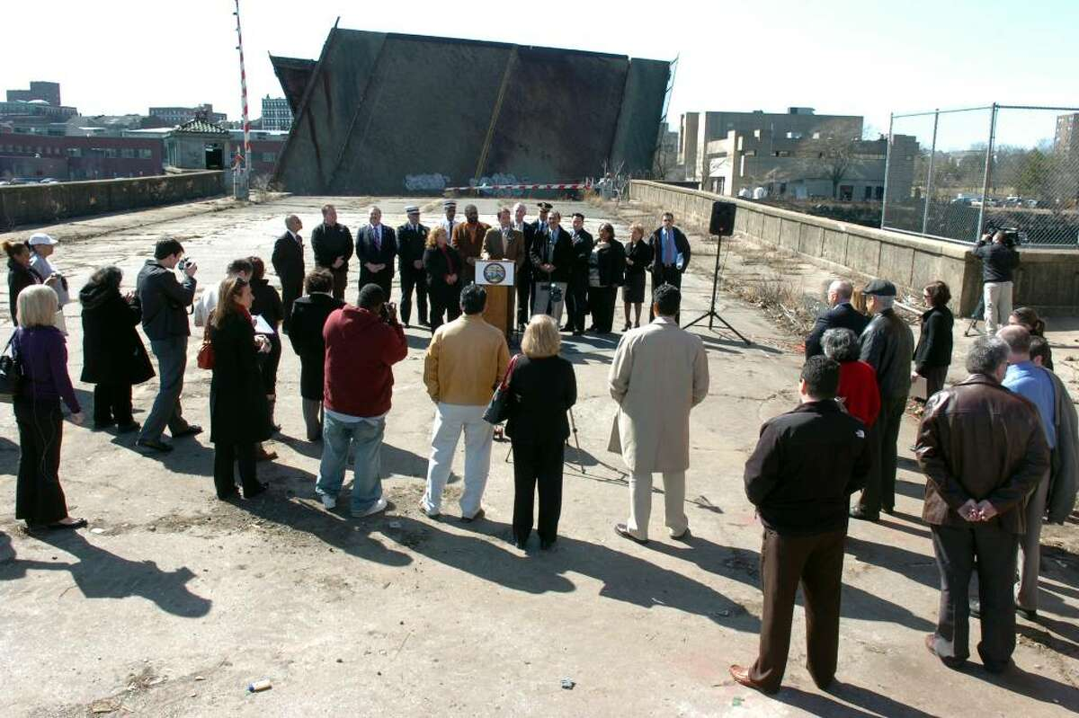 Congressman Jim Himes speaks at a press conference near the Congress Street bridge, in Bridgeport, Conn. Monday March 8th, 2010. Demolition is set to begin on the drawbridge over the Pequonnock River, which has been stuck open for years.