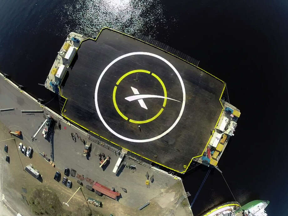 "An undated photo shows the custom-built ocean platform known as the ""drone ship,"" where the first stage of SpaceX's booster rocket for its cargo ship was supposed to land. Photo: SpaceX /New York Times / SPACEX"