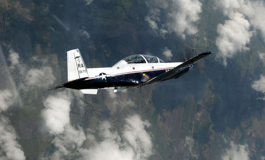 """Photo of T-6A Texan II. The plane in the photo is flown by Lt. Col. David """"Rev"""" Baker, who served as the T-6A's program manager in early 1999. Courtesy Photo, Master Sgt. David Richards, USAF.    (U.S. Air Force photos by MSgt. Dave Richards) Photo: Master Sgt. David Richards, USAF / USAF / USAF"""