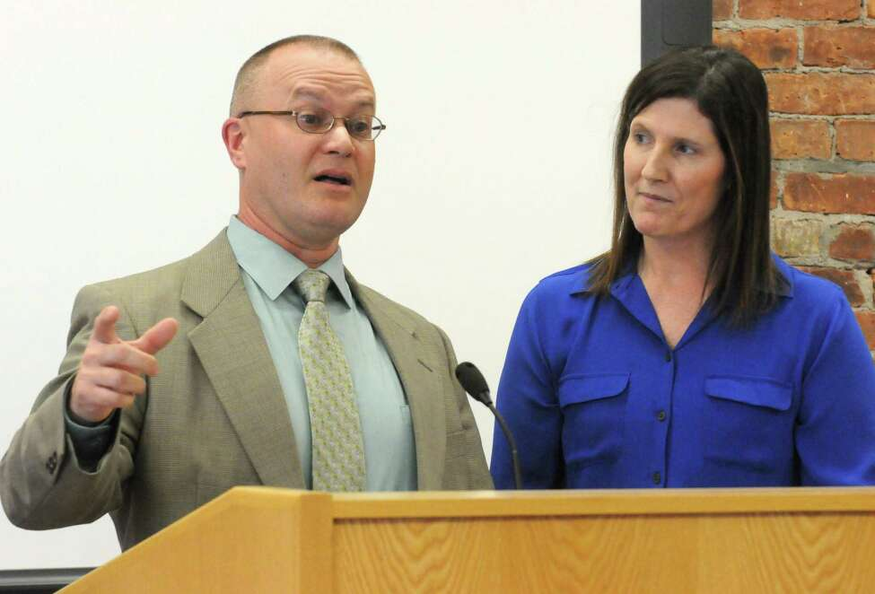 Board of Education President Patricia Lanotte, right, introduced Cosimo Tangorra Jr. as the next superintendent in the Niskayuna school district on Tuesday April 14, 2015 in Niskayuna, N.Y. (Michael P. Farrell/Times Union)