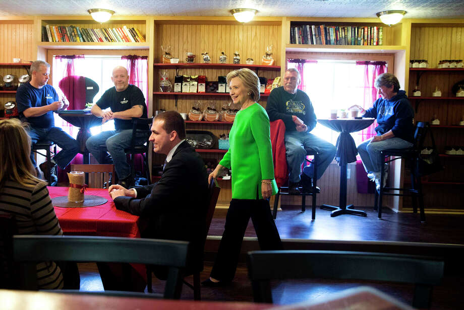 Hillary Rodham Clinton campaigns at a coffee shop in LeClaire, Iowa. Photo: DOUG MILLS / New York Times / NYTNS