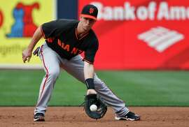 Buster Posey fields ground balls at first base during infield practice prior to Friday's game in San Diego. Posey sat out Tuesday's game to rest, but the Giants offense produced nothing in his absence.