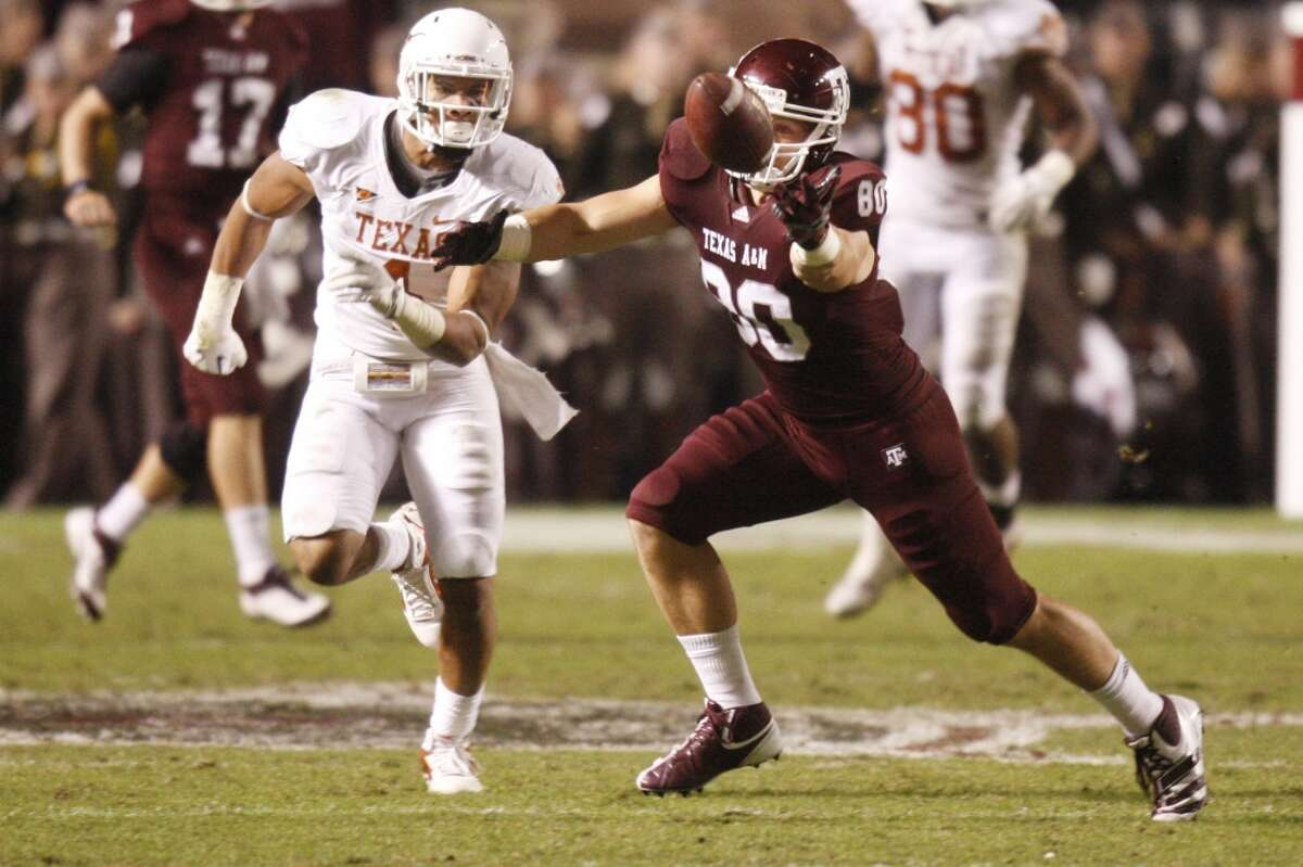 Texas A&M Aggies tight end Hutson Prioleau (80) misses a catch during the first half of the Texas A&M Aggies vs University of Texas Longhorns rivalry NCAA football game at Kyle Field on Thanksgiving Day, Thursday, November 24, 2011 in College Station, Texas. (Patrick T. Fallon/The Dallas Morning News)