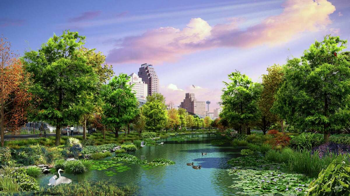 Proposed designs from Mu(n)oz & Co. show recreational and cultural amenities on San Pedro Creek downtown. A $175 million project, managed by San Antonio River Authority and funded by Bexar County, will transform the creek from near Fox Tech High School to south of downtown. Construction begins May 2016, with completion on the initial downtown phase in May 2018.