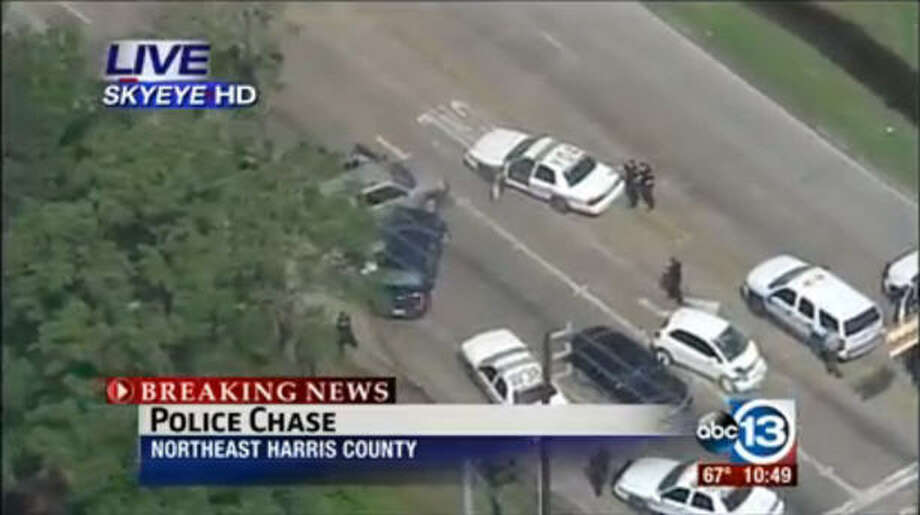 A screen shot taken during a live streaming of a police chase in Northeast Harris County from ABC13.com