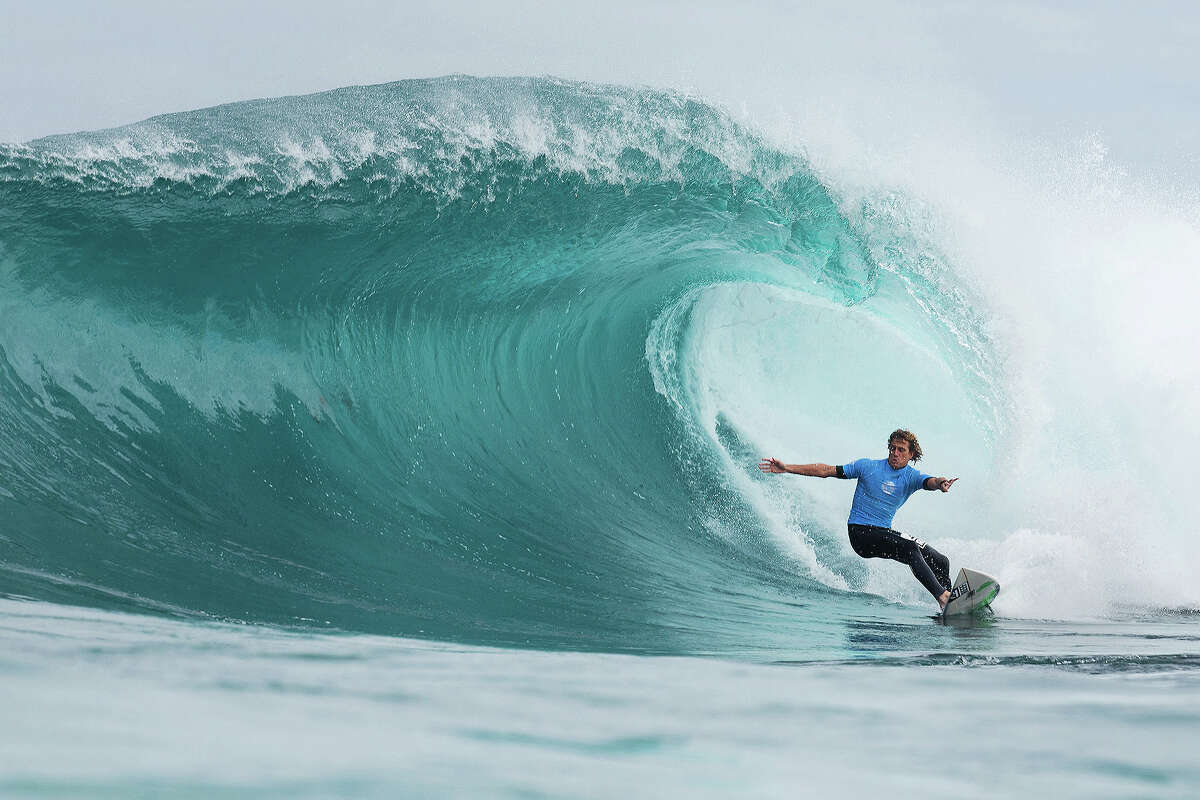 Kai Otton of Australia placed second in his round 1 heat of the Drug Aware Margaret River Pro at The Box on April 15, 2015 in Margaret River, Australia.