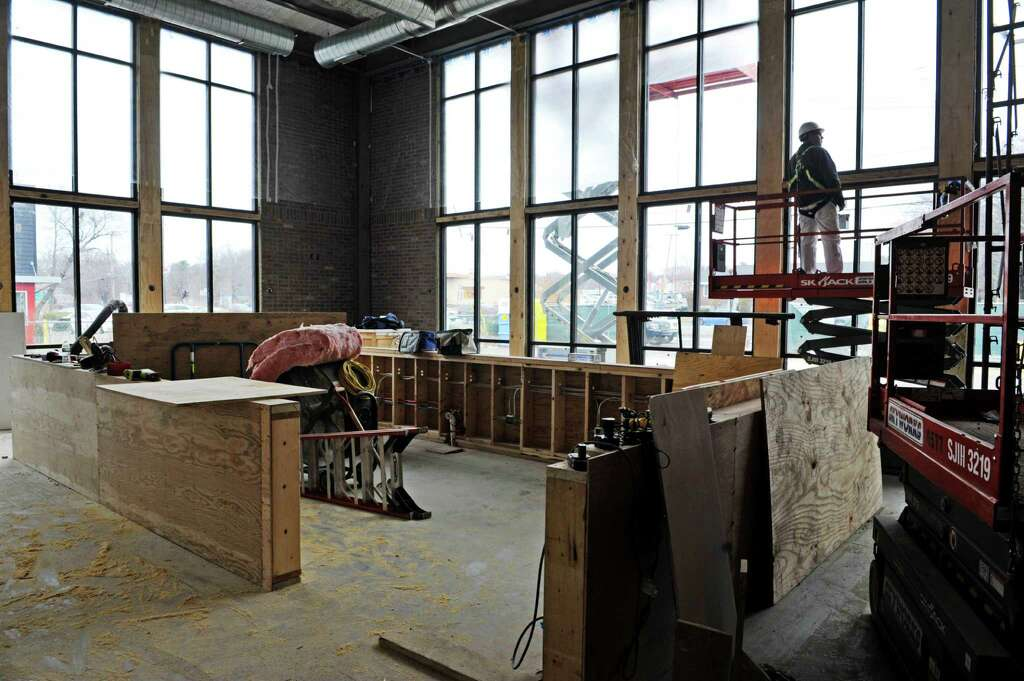 a view of the bar area as construction work continues on the black blue steak - Blue Restaurant 2015