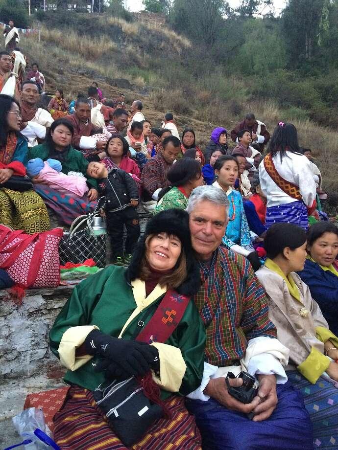 Ellen Grossman and husband, David Pellarin, of Fremont in Paro, Bhutan.