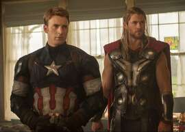"Captain America (Chris Evans) may be husband material and Thor (Chris Hemsworth), the hammer-wielding bad boy, but neither is up for a romcom in ""Avengers: Age of Ultron."" The gang's all here to battle a murderous robot bent on wiping out humanity. Movie opens May 1. Photo courtesy of Marvel Studios."