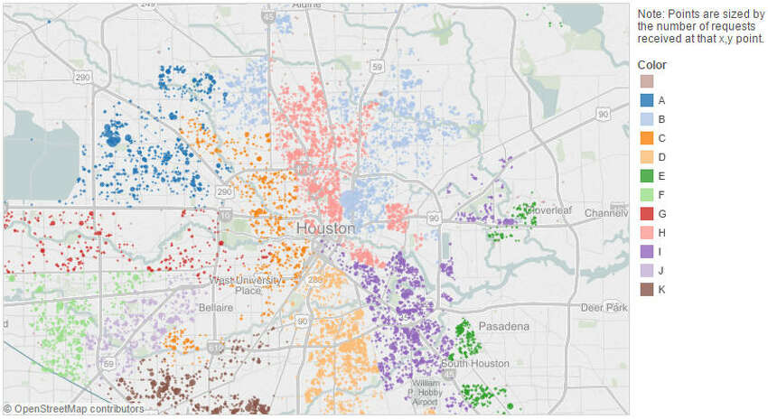 Animal Control Violations Data points reflect service calls made to City of Houston for 2014 calendar year, by Houston Council District (see legend for details).