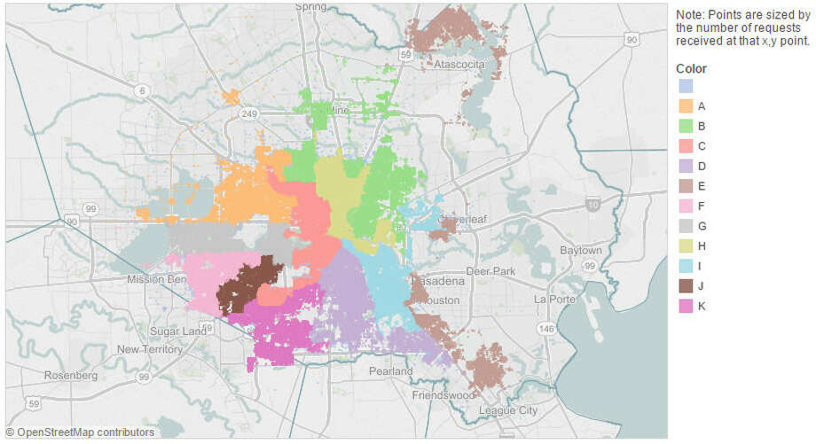 Houston's hot spots for public complaintsThe following maps show the concentration of 311 service calls made by residents to the City of Houston in 2014 for problems ranging from bad tasting water to dead animal collections.ABOVE: All complaints registered by the City of Houston 311 services in 2014. Data points reflect service calls made to City of Houston for 2014 calendar year, by Houston Council District (see legend for details). Photo: City Of Houston