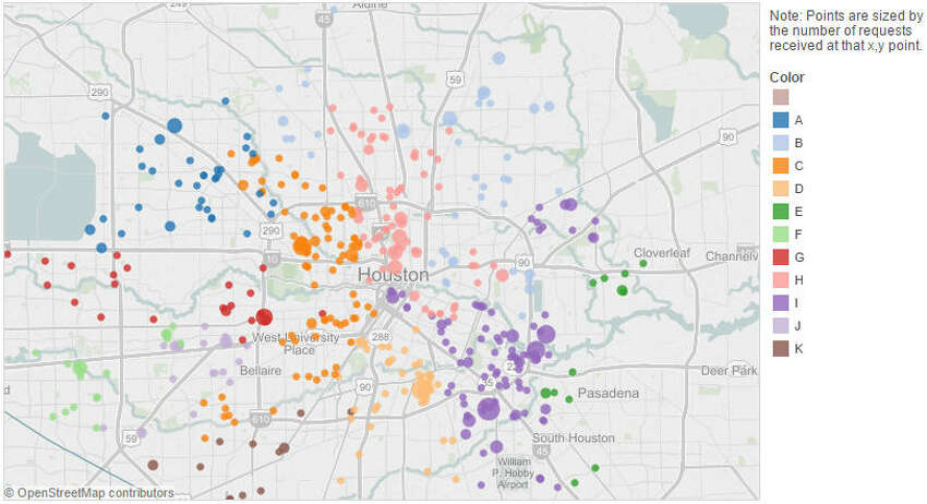Air Pollution Complaints Data points reflect service calls made to City of Houston for 2014 calendar year, by Houston Council District (see legend for details).