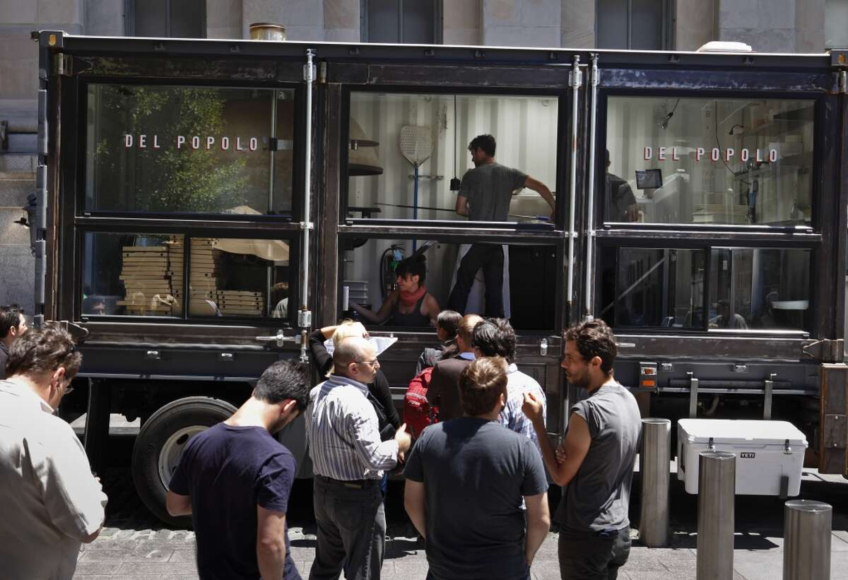 Jonathan Darsky's Del Popolo, a mobile pizzeria housed in a 25ft. shipping container, is seen on Thursday, June 7, 2012 at Mint Plaza in San Francisco, Calif.