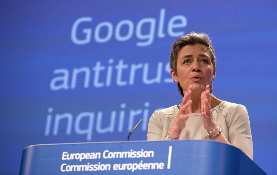 The European Union competition chief Margrethe Vestager outlines charges against Google during a Brussels news conference. Photo: Virginia Mayo / Associated Press / AP