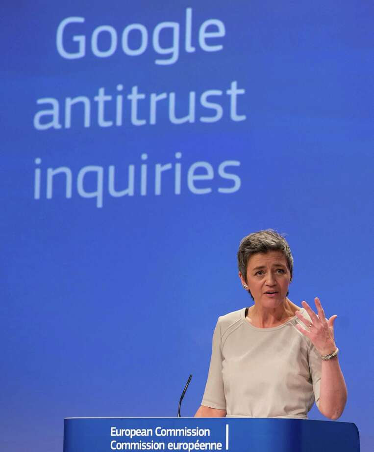 European Union's competition chief Margrethe Vestager speaks during a media conference regarding Google at EU headquarters in Brussels on Wednesday, April 15, 2015. The European Union's executive hit Google with an official antitrust complaint on Wednesday that alleges the company abuses its dominance in Internet searches and also opened a probe into its Android mobile system. (AP Photo/Virginia Mayo) Photo: Virginia Mayo / Associated Press / AP