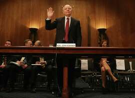 WASHINGTON, DC - APRIL 15:  IRS Commissioner John Koskinen is sworn in before testifying before a Senate Homeland Security and Governmental Affairs Committee on Capitol Hill April 15, 2015 in Washington, DC. On the sixtieth anniversary of the Internal Revenue Services April 15th deadline the committee is hearing testimony on the IRSs challenges in implementing the Affordable Care Act.  (Photo by Mark Wilson/Getty Images)