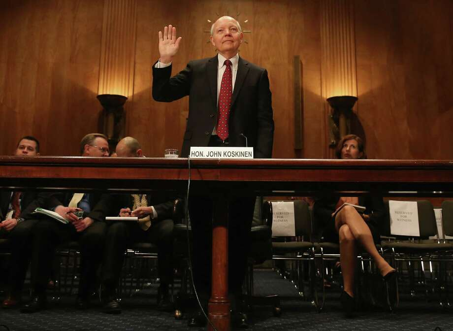 WASHINGTON, DC - APRIL 15:  IRS Commissioner John Koskinen is sworn in before testifying before a Senate Homeland Security and Governmental Affairs Committee on Capitol Hill April 15, 2015 in Washington, DC. On the sixtieth anniversary of the Internal Revenue Services April 15th deadline the committee is hearing testimony on the IRSs challenges in implementing the Affordable Care Act.  (Photo by Mark Wilson/Getty Images) Photo: Mark Wilson / Getty Images / 2015 Getty Images