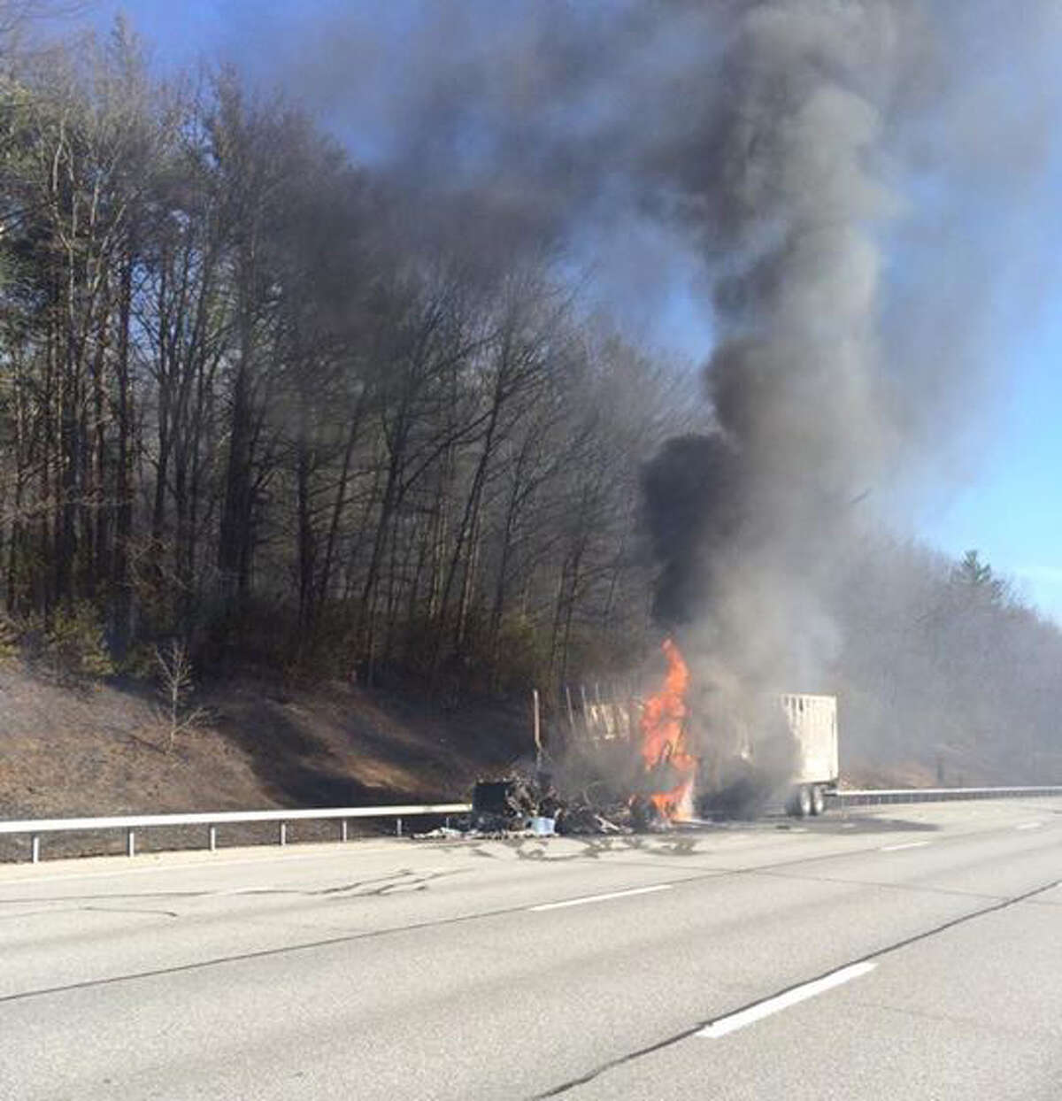 A tractor trailer burns on the northbound side of the Northway near Exit 11. (Photo: Saratoga County Office of Emergency Services)
