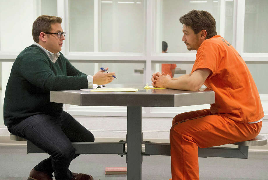 Jonah Hill (left), as Michael Finkel, and James Franco, as Christian Longo, star in a crime drama that is made only mildly interesting by sticking to the facts. Photo: HANDOUT / Barry Wetcher / Fox Searchlight / THE WASHINGTON POST