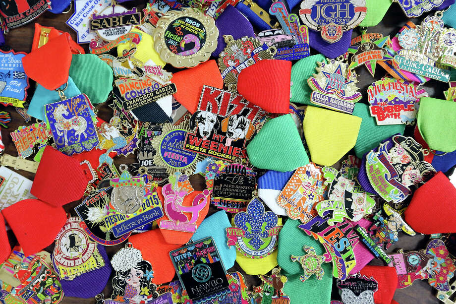 Detail of 2015 Fiesta Medals designed by Monarch Trophy Studio graphic artist David Durbin April 13. Photo: Edward A. Ornelas /San Antonio Express-News / © 2015 San Antonio Express-News