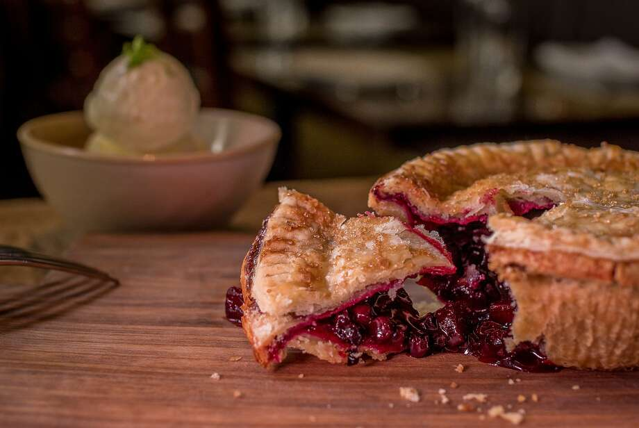 Huckleberry-Apple Pie with Creme Fraiche Ice Cream at Ad Hoc in Yountville, Calif., is seen on Monday, March 23rd,  2015. Photo: John Storey, Special To The Chronicle